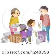 Clipart Of A Happy Family Recycling Products Royalty Free Vector Illustration
