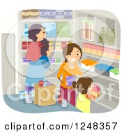 Clipart Of A Family Stocking Their Pantry With Food Royalty Free Vector Illustration