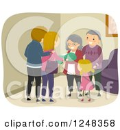 Clipart Of Grandparents Visiting Their Family And Newborn Baby Royalty Free Vector Illustration