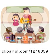Clipart Of A Stick Father And Daughter Singing And Playing A Guitar In Front Of A Class Royalty Free Vector Illustration