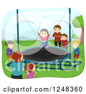 Clipart Of Fathers Watching Children Play On A Trampoline Royalty Free Vector Illustration