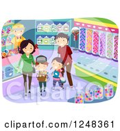 Clipart Of A Happy Family Buying Candy In A Shop Royalty Free Vector Illustration