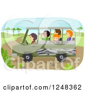 Clipart Of Diverse Children On A Safari Tour Royalty Free Vector Illustration
