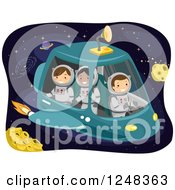 Clipart Of Astronaut Children In A Space Craft Royalty Free Vector Illustration