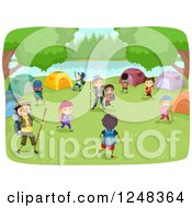Clipart Of Happy Diverse Children And Camp Guides At A Campground Royalty Free Vector Illustration by BNP Design Studio