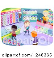 Clipart Of Happy Diverse Children In A Candy Store Royalty Free Vector Illustration