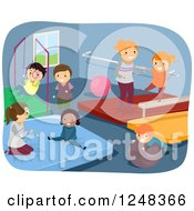 Clipart Of Happy Diverse Children Playing And Doing Gymnastics In A Gym Royalty Free Vector Illustration by BNP Design Studio