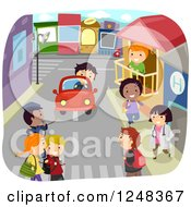 Clipart Of Happy Diverse Children On A Community Street Royalty Free Vector Illustration
