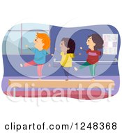 Clipart Of Happy Diverse Children On A Balance Beam Royalty Free Vector Illustration by BNP Design Studio
