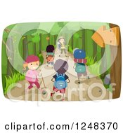 Clipart Of Happy Diverse Children Hiking On A Trail Royalty Free Vector Illustration