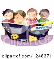Clipart Of Happy Diverse Children Reading An Astronomy Book Royalty Free Vector Illustration