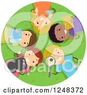 Clipart Of Happy Diverse Children With Educational Supplies Laying In Grass Royalty Free Vector Illustration