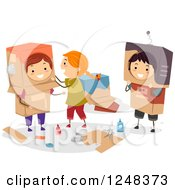 Clipart Of Children Making Robot Boxes Royalty Free Vector Illustration