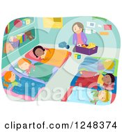 Clipart Of A Teacher Cleaning While Students Take Nap Time Royalty Free Vector Illustration