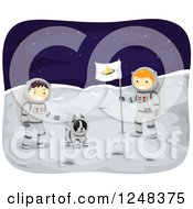 Clipart Of A Boston Terrier And Boy Astronauts On The Moon Royalty Free Vector Illustration