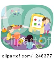 Clipart Of A Girl Pretending To Be A Teacher And Friends Learning Shapes Royalty Free Vector Illustration