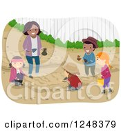 Clipart Of A Woman And Diverse Children Learning How To Garden Royalty Free Vector Illustration