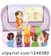 Clipart Of A Female Teacher Showing Students How To Recycle Royalty Free Vector Illustration