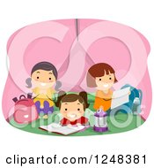 Clipart Of Happy Camping Girls Reading And Talking In A Tent Royalty Free Vector Illustration