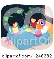 Clipart Of A Boy And Girls Talking In A Bedroom With Glow In The Dark Planet And Star Stickers Royalty Free Vector Illustration