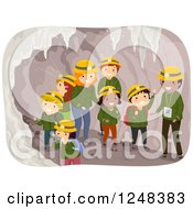 Clipart Of Teachers Guides And Students In A Cave Tour Royalty Free Vector Illustration