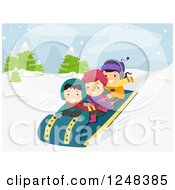 Clipart Of Children Sledding In The Snow Royalty Free Vector Illustration