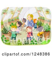 Clipart Of A Female Teacher And Children Exploring A Greenhouse Garden Royalty Free Vector Illustration