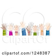 Clipart Of A Border Of Diverse Children Holding Up Their Hands Royalty Free Vector Illustration