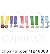 Clipart Of Legs Of Chilren In Pajamas And Slippers Royalty Free Vector Illustration