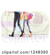 Clipart Of Legs Of A Couple Shopping Together Royalty Free Vector Illustration