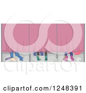 Clipart Of Feet Of Girls Trying On Clothes In A Fitting Room Royalty Free Vector Illustration