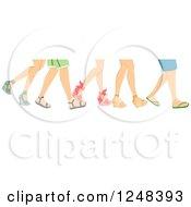 Legs Of Walking People In Summer Footwear
