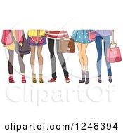 Clipart Of Legs Of Teenage High School Girls Royalty Free Vector Illustration
