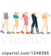 Clipart Of Legs Of Walking People In Workout Apparel Royalty Free Vector Illustration
