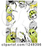 Doodle Monster Border In Green And Black And White