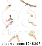 Clipart Of A Border Of Hands Doing Gardening Sewing Painting And Other Hobbies Royalty Free Vector Illustration