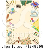 Clipart Of A Tan Background Bordered With Arts And Crafts Items Royalty Free Vector Illustration
