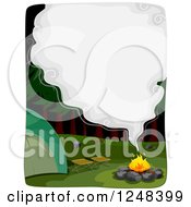 Clipart Of A Smoke Cloud With Text Space Over A Camp Fire Royalty Free Vector Illustration