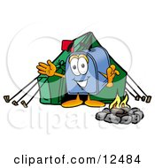 Blue Postal Mailbox Cartoon Character Camping With A Tent And Fire