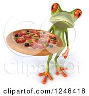 Clipart Of A 3d Green Springer Frog Holding A Pizza 3 Royalty Free Illustration