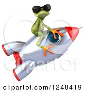 Clipart Of A 3d Green Springer Frog Wearing Shades And Riding A Rocket Royalty Free Illustration