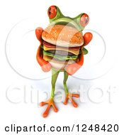 Clipart Of A 3d Green Springer Frog Holding Up A Double Cheeseburger 2 Royalty Free Illustration by Julos