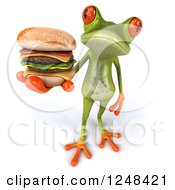 Clipart Of A 3d Green Springer Frog Holding Up A Double Cheeseburger Royalty Free Illustration by Julos
