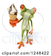 Clipart Of A 3d Green Springer Frog Holding Up Ice Cream Royalty Free Illustration