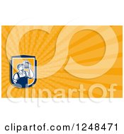 Clipart Of A Bartender With Beer Background Or Business Card Design Royalty Free Illustration