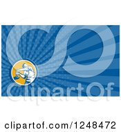 Clipart Of A Hammering Worker Background Or Business Card Design Royalty Free Illustration by patrimonio