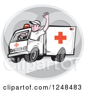 Clipart Of A Cartoon Ambulance Driver Waving In A Circle Royalty Free Vector Illustration by patrimonio