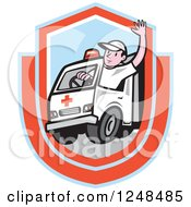 Clipart Of A Cartoon Ambulance Driver Waving In A Shield Royalty Free Vector Illustration