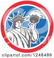 Clipart Of A Retro Statue Of Liberty With A Torch In A Red White And Blue Circle Royalty Free Vector Illustration
