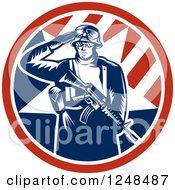 Clipart Of A Retro Woodcut Soldier Saluting And Holding A Gun Inside An American Circle Royalty Free Vector Illustration